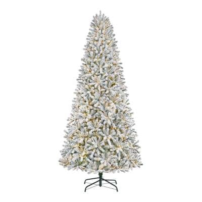 9FT Flocked Fraser Fir LED Pre-Lit Artificial Christmas Tree With 3000 Color Changing Lights and 10-Function