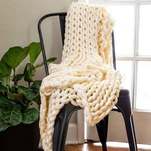 Cream Acrylic Chunky Knit Throw