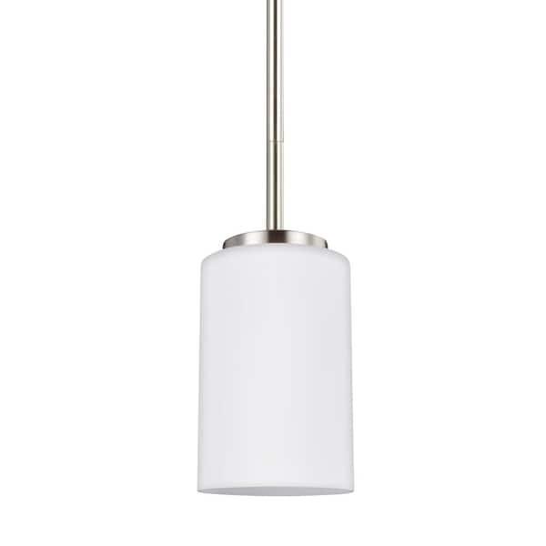Sea Gull Lighting Oslo 1 Light Brushed Nickel Pendant 61160 962 The Home Depot