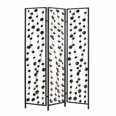 Mariana 6 ft. Gray and Bronze 3-Panels Metal Falling Blooms Room Divider