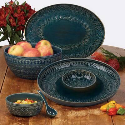 Multi-Colored 128 oz. Aztec Teal Serving Bowl