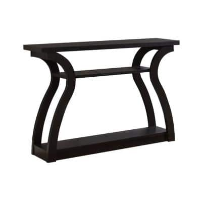 Jasmine 48 in. Cappuccino Standard Rectangle Wood Console Table with Shelves