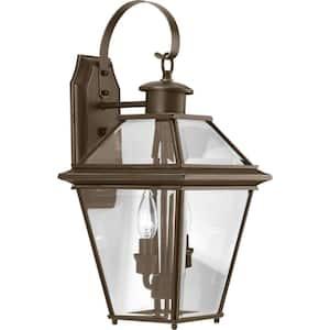 Burlington Collection 2-Light Antique Bronze Clear Beveled Glass New Traditional Outdoor Medium Wall Lantern Light