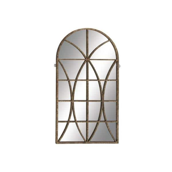 Litton Lane Large Arch Brown, Arched Window Pane Mirror Large