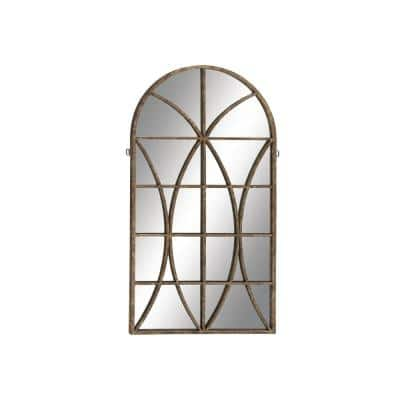 Large Arch Brown Contemporary Mirror (59 in. H x 32 in. W)
