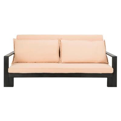 Hammett Dark Slate Grey 1-Piece Wood Outdoor Day Bed with Sahara Beige Cushions