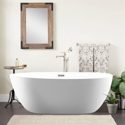 Calais 55 in. Acrylic Flatbottom Center Bathtub in White