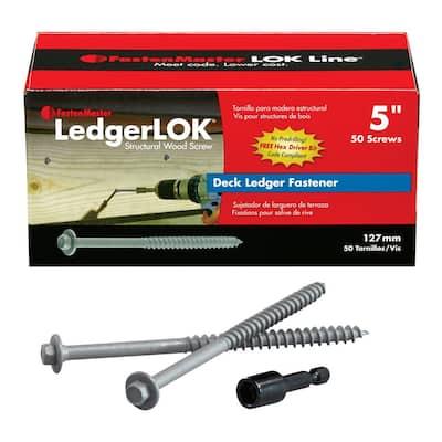 1/4 in. 5 in. LedgerLok Coarse Steel External Hex Drive, Flat Head Ledger Board Wood Screw Fasteners (50-Pack)