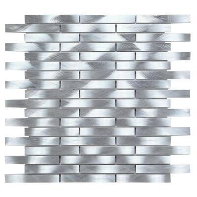CHENX 11.81 in. x 13.73 in. x 6 mm Aluminum Metal Backsplash in Silver (12.42 sq. ft./Case)