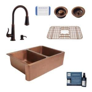 Rockwell All-in-One Farmhouse Apron-Front Copper 33 in. 50/50 Double Bowl Kitchen Sink with Pfister Faucet and Drains