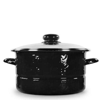 Solid Black 6 qt. Enamelware Stock Pot with Glass Lid