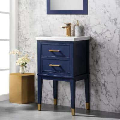 Clara 20 in. W x 15.7 in. D Bath Vanity in Blue with Porcelain Vanity Top in White with White Basin
