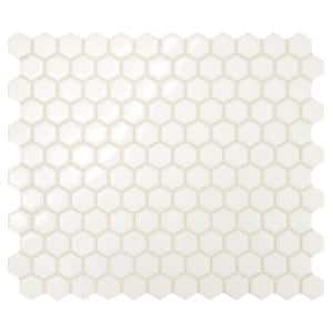 Premier Accents Powder White Hexagon 10 in. x 12 in. x 4 mm Porcelain Mosaic Floor and Wall Tile (0.84 sq. ft./Each)