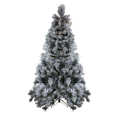 7.5 ft. Unlit Flocked Black Spruce Artificial Christmas Tree