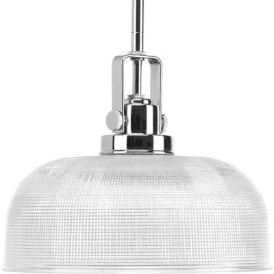 Archie Collection 1-Light Chrome Pendant with Clear Prismatic Glass