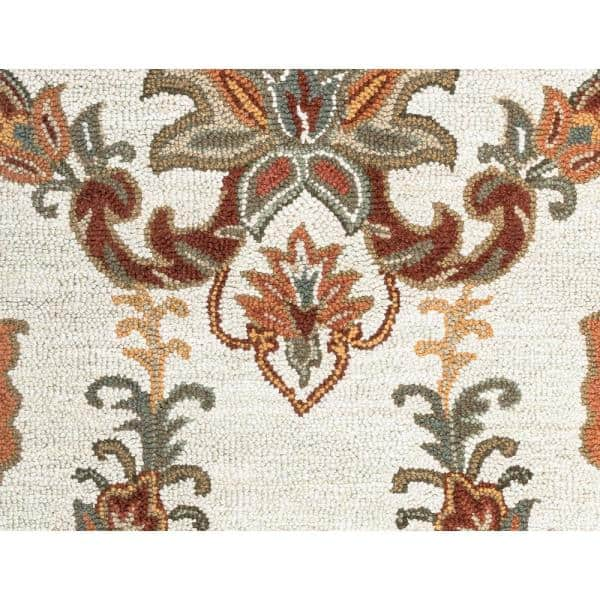 Crypt Ivory Orange 9 Ft X 12 Ft Floral Wool Area Rug Cptcy100300040912 The Home Depot