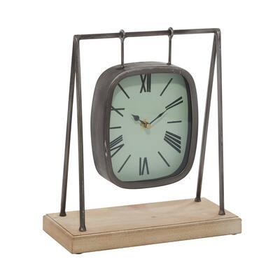Grey Farmhouse Wood Analog Clock