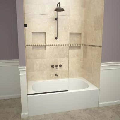 2000V Series 30 in. W x 60 in. H Semi-Frameless Fixed Tub Door in Oil Rubbed Bronze and Clear Glass