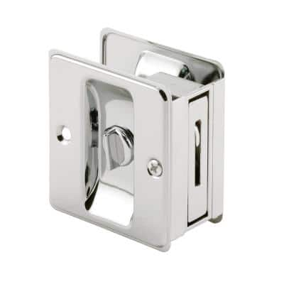 Polished Chrome, Pocket Door Privacy Lock