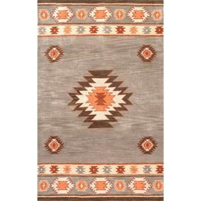 Shyla Abstract Sage 6 ft. x 9 ft.  Area Rug