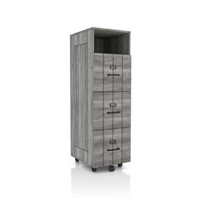 Macsen Distressed Gray 3-Drawer File Cabinet with Wheels