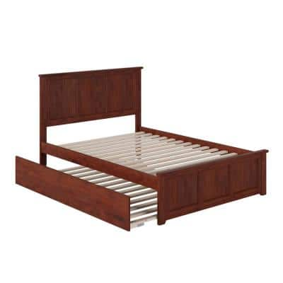 Madison Full Platform Bed with Matching Foot Board with Full Size Urban Trundle Bed in Walnut