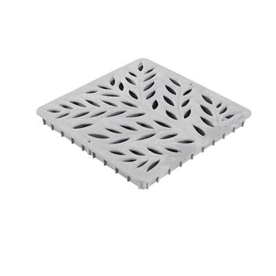 12 in. Square Catch Basin Drain Grate, Decorative Botanical Design, Gray Plastic