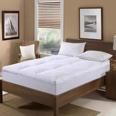 233 Thread Count Cotton Nano Feather Bed Medium Deep Pocket Down King Mattress Pad