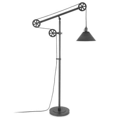 Descartes 70 in. Aged Steel Floor Lamp with Pulley System