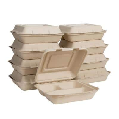10 in. Natural Sugarcane Sectional Clamshell Containers (300 Pack)