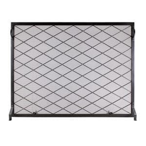 38 in. L Black and Brass 1-Panel Harlequin Flat Fireplace Screen with Diamond Pattern