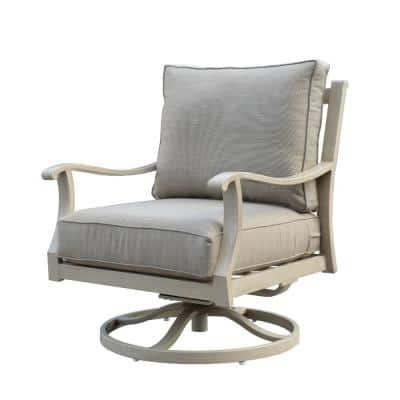 Torino Swivel Aluminum Outdoor Lounge Chair with Beige Cushions