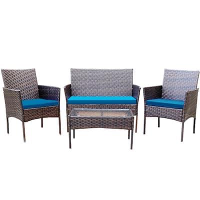 Alvino 4-Piece Wicker Outdoor Patio Rattan Bistro Furniture Set, Dark Blue Cushion