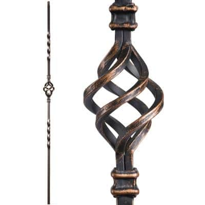 Twist and Basket 44 in. x 0.5 in. Oil Rubbed Bronze Single Basket Solid Wrought Iron Baluster