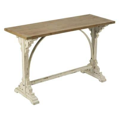 48 in. Natural Teak/Iron Standard Rectangle Wood Console Table