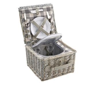 Grey Picnic Basket (Set for 2)