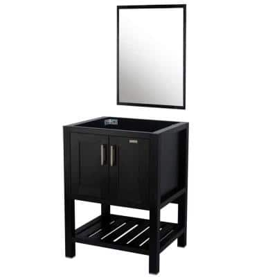 20 in. W x 24 in. D Bath Vanity Cabinet Only with Mirror in Black
