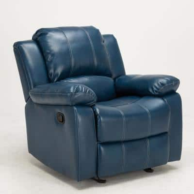 Clifton 37 in. Width Big and Tall Navy Blue Faux Leather 1 Position Recliner