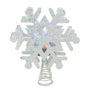 12 in. Lighted White Snowflake with Rotating LED Projector Christmas Tree Topper