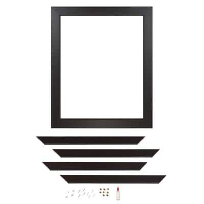 Decorative 30 in. x 36 in. x 1 in. Surface Mount Single Mirror Framing Kit for Bathrooms in Espresso with Flat Frame