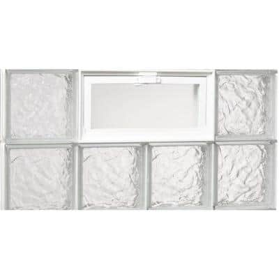 31 in. x 15.5 in. x 3.125 in. Ice Pattern Glass Block Masonry Window with Vent