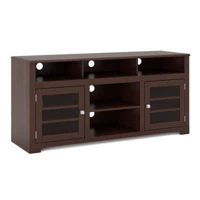 West Lake 60 in. Dark Espresso Wood TV Stand Fits TVs Up to 68 in. with Storage Doors