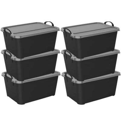 Stackable Locking Closet and Storage Box 55 Qt. Containers, (6-Pack)
