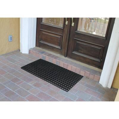 A1HC Heavy Duty Grill Mat Black 19.6 in. x 39.3 in. Rubber Indoor/Outdoor Large Double Door Doormat