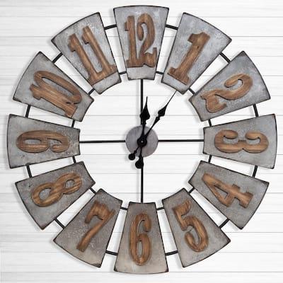 Windmill Wood Silver Wall Clock