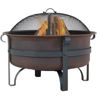 29 in. Round Steel Wood Burning Fire Pit with Cauldron Style and Spark Screen Set in Bronze