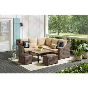 Hampton Bay Rock Cliff 6 Piece Brown Wicker Outdoor Patio Sectional Sofa Set With Ottoman And Cushionguard Malachite Green Cushions Frs81094b Stmal The Home Depot