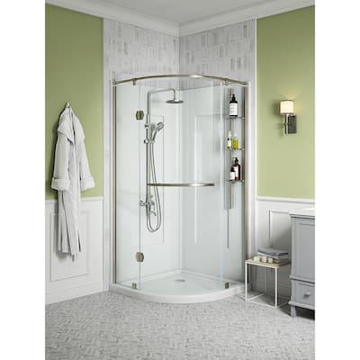 Glamour 38 in. x 77 in. Corner Drain Corner Shower Kit in White and Satin Nickel Hardware