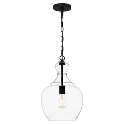 Danbury 1-Light Matte Black Pendant with Clear Glass Shade