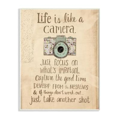 """12.5 in. x 18.5 in. """"Life Is Like A Camera Inspirational"""" by Katie Doucette Printed Wood Wall Art"""
